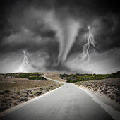 Tornado on road — Stock Photo