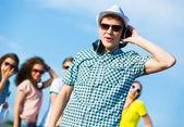 Young man with headphones — Fotografia Stock