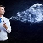 Man smoking pipe — Stock Photo