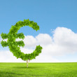 Conceptual image of green plant shaped like euro symbol — Stock Photo