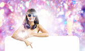 Girl with banner — Stock Photo