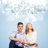Młoda para zadowolony — Zdjęcie stockowe