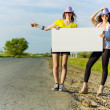 Two girls with banner — Stock Photo #41813793
