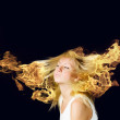 Stock Photo: Hair in fire
