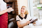 Woman at cafe — Stock Photo