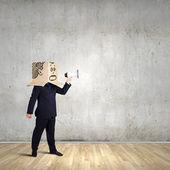 Biznesmen z megafon — Zdjęcie stockowe