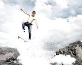 Teenager on skateboard — Stock Photo