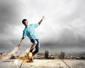 滑板少年 — 图库照片