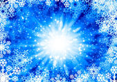 Fiocchi di neve su blu — Foto Stock