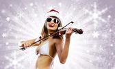 Girl violinist — Stock Photo
