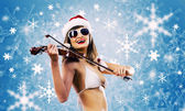 Girl violinist — Stock Photo