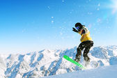 Snowboarder in jump — Stock Photo
