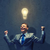 Hombre de negocios de intercambio de ideas — Foto de Stock
