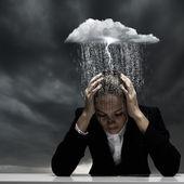 Depressed businesswoman — Stock Photo
