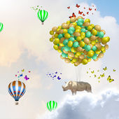 Flying rhino — 图库照片