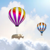 Flying rhino — Stock Photo