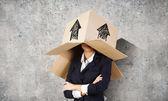 框在头上的女人 — 图库照片