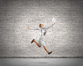 Running businesswoman — Foto Stock