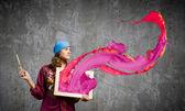 Kobieta malarz — Zdjęcie stockowe