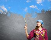 Pintor de mulher — Foto Stock