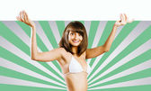 Chica con banner — Foto de Stock