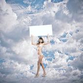 Menina com banner — Foto Stock