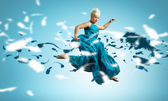 Woman dance in the air — Foto Stock
