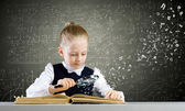 Girl discover world of knowledge — Stok fotoğraf