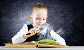 Girl in world of knowledge — Foto Stock