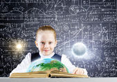 Girl on lesson with open book — Foto Stock