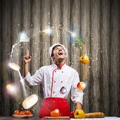 Cook at kitchen — Foto de Stock