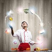 Vařit v kuchyni — Stock fotografie