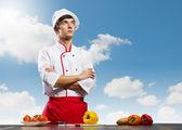 Cook at kitchen — Stockfoto