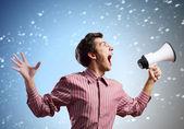 Guy with megaphone — Stock Photo