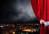 Opened curtain — Stock Photo