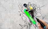 Snowboarding sketch — Stock Photo