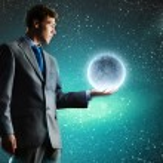 Businessman holding moon planet — Stock Photo #51744381