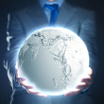 Businessman holding moon planet — Stock Photo #51744911