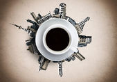 Cup of coffee against sketch background — Stock Photo