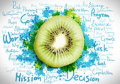 Juicy kiwi with sketch — Stock Photo