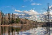 Spring flooding in Siberia — Stock Photo
