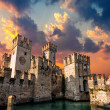 Medieval Castle Scaliger at sunset — Stock Photo