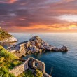 The old medieval castle in the Italian town of Porto Venere at sunset — Stock Photo