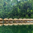 Bamboo huts on the lake Cheo Lan in Thailand. — Stock Photo #34848081