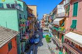 Street in the famous Italian town of Manarola — Stock Photo