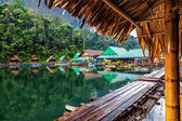 Floating village on Lake Cheo lan in Thailand — Stock Photo
