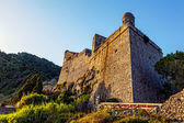 Medieval Doria Castle at sunset in the Italian town of Portovenere — Stock Photo