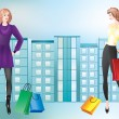Royalty-Free Stock Vector Image: Girls with shopping.