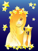 The girl with the Stars. — Stock Vector