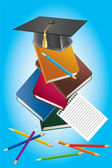 Books, pencils and a hat graduate. — Stock Vector